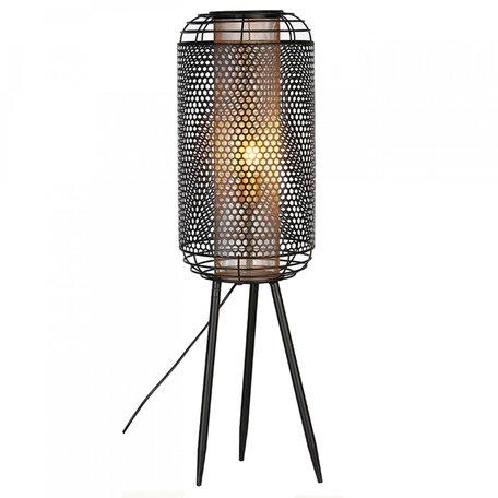 Industriele metalen vloerlamp zwart met goud 114cm