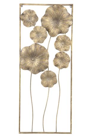 PTMD Quiny Gold wanddecoratie metaal bloemen