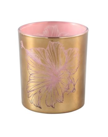 PTMD Melody Goud glazen theelicht roze bloem