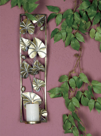 PTMD Bjorne Gold metal leaves wall candleholder