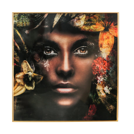 PTMD Melani Glass Art wall picture women nature square