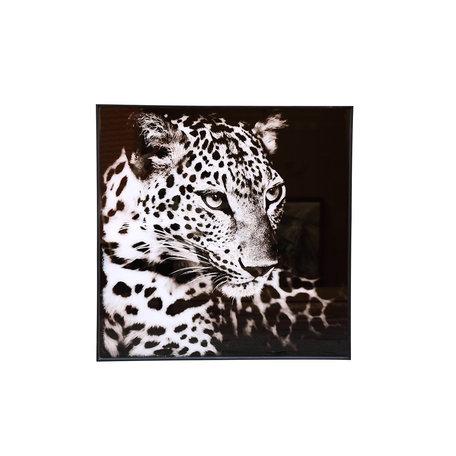 PTMD Melani Glass Art wall picture leopard black white