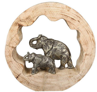 Mangohout sculptuur 'Olifanten' rond
