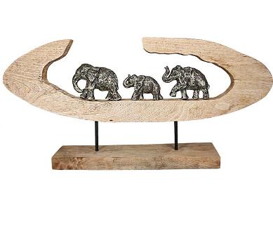 Mangohout sculptuur 'Olifanten'