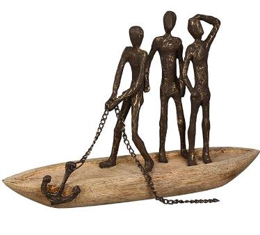 Mangohout sculptuur boot 'Anker los-nieuw avontuur'