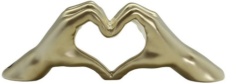 Sculptuur hand met hart goud
