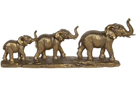 Decoratie olifanten rij goudkleurig