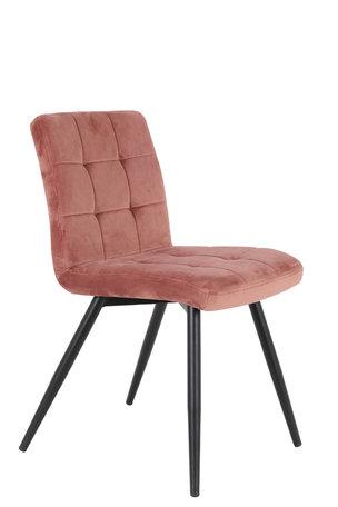 Eetkamerstoel 50,5x44,5x82 cm OLIVE velvet oud roze-zwart