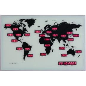 NeXtime 2897 World Time Digit [55x36 cm, Silver]