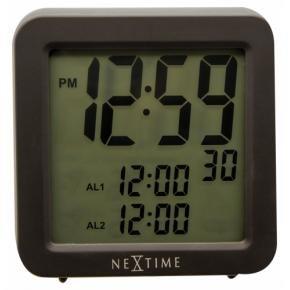 NeXtime 5201zw Square Alarm Radio Controlled [9x9 cm, Black]