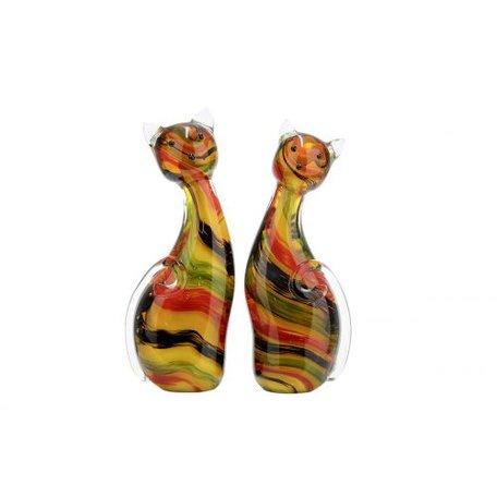 sculptuur  2 katten glas