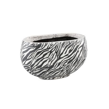 PTMD Sebra White glazed ceramic pot oval L