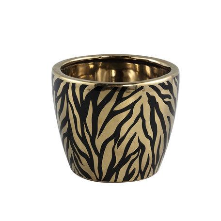 PTMD Brendy Black Gold ceramic animal pot round M