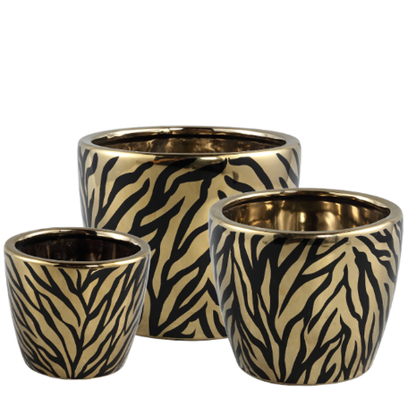 PTMD Brendy Black Gold ceramic animal pot set van 3