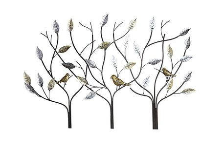 Wanddecoratie metaal vogels in boom 104cm
