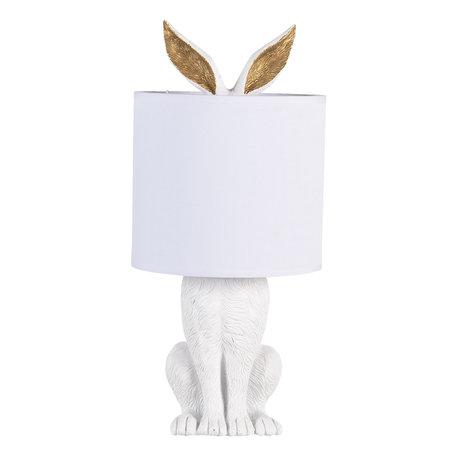 Tafellamp konijn wit met kap