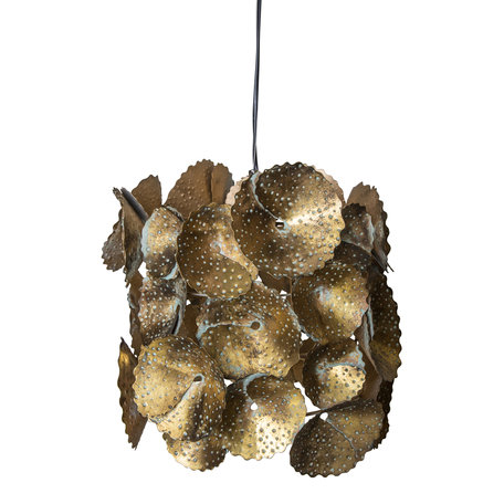 PTMD Kacey Goud hanglamp ijzer met metalen bloemen