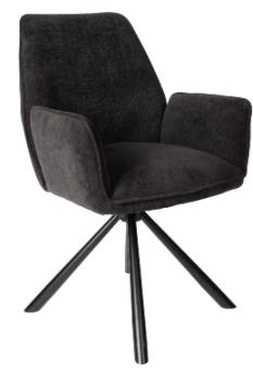 PTMD Vicky velvet chair zwart