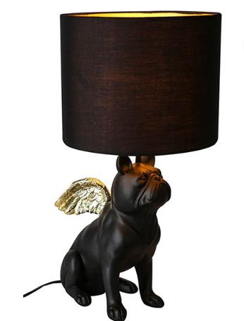 Lamp Bulldog mat zwart met goud 55cm
