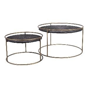 Caly Black Wood Coffeetable Round Frame