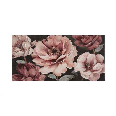 Canvas schilderij 'roze bloemen