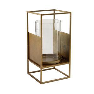 PTMD Valerio brass Glass stormlight Iron base square L