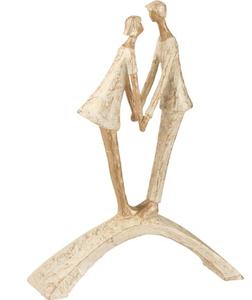 Sculptuur Koppel Kussend Poly Goud