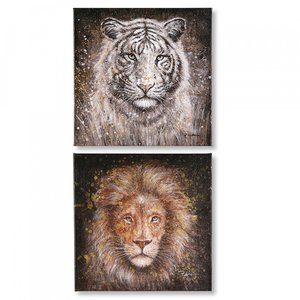 Canvas tijger en leeuw handgeschilderd