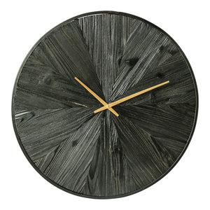 PTMD Rolf Black klok van hout met metalen rand L