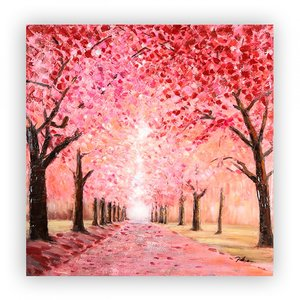 Canvas schilderij 'kersen boulevard' handgeschilderd