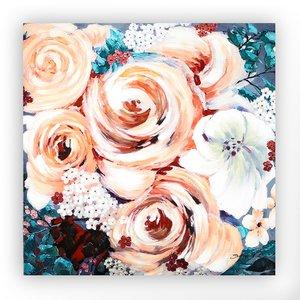 Canvas schilderij 'grote bloemen' handgeschilderd