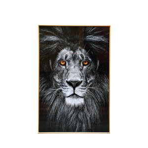 PTMD Melani Glass Art wall picture lion fire eyes