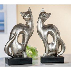 Zittende katten  zilver op zwarte voet